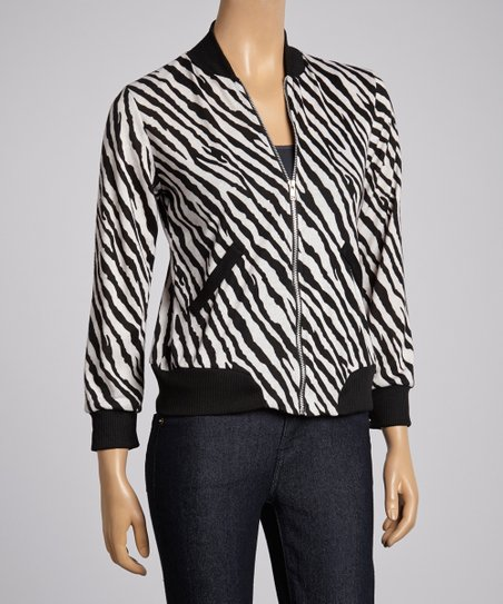 Black & White Zebra Zip Jacket