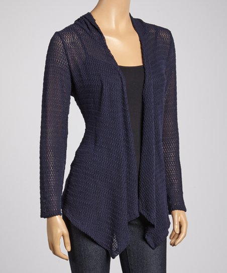Navy Hooded Open Cardigan