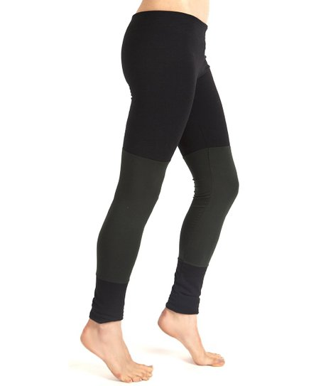 Black & Army Color Block Leggings