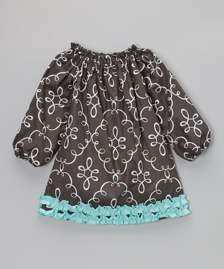 Gray & Blue Doodle Damask Ruffle Dress - Infant, Toddler & Girls