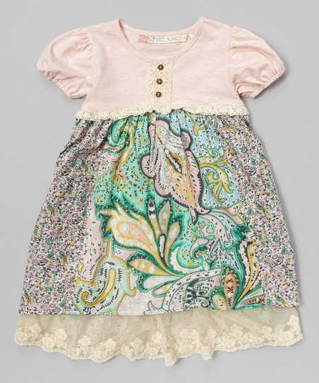 Pink & Blue Floral Paisley Babydoll Dress - Girls