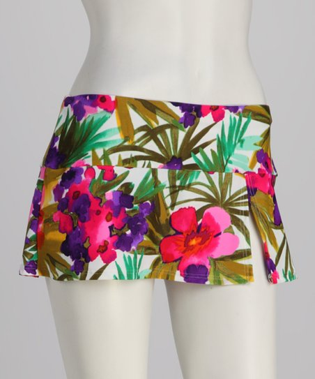 Sunsets Blue & Pink Floral Banded Swim Skirt
