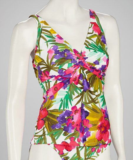 Sunsets Blue & Pink Floral Underwire Twist Tankini Top