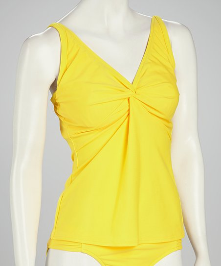 Sunsets Yellow Underwire Twist Tankini Top