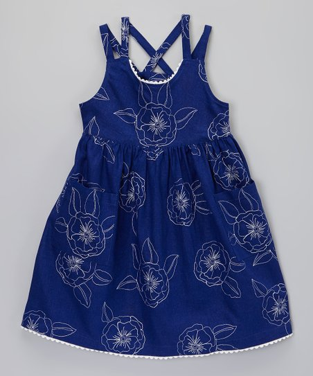 Navy Blue Flower Sun Dress - Toddler & Girls