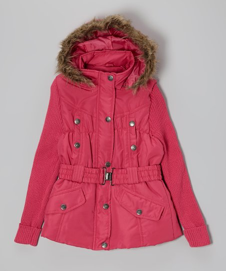 Raspberry & Tan Knit-Sleeve Belted Jacket - Girls