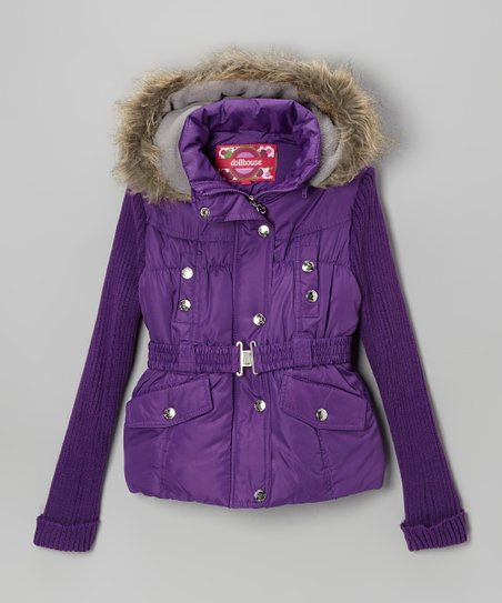 Purple Knit-Sleeve Belted Jacket - Girls