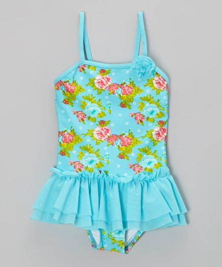 Aqua Rose Garden Ruffle Skirted One-Piece - Girls