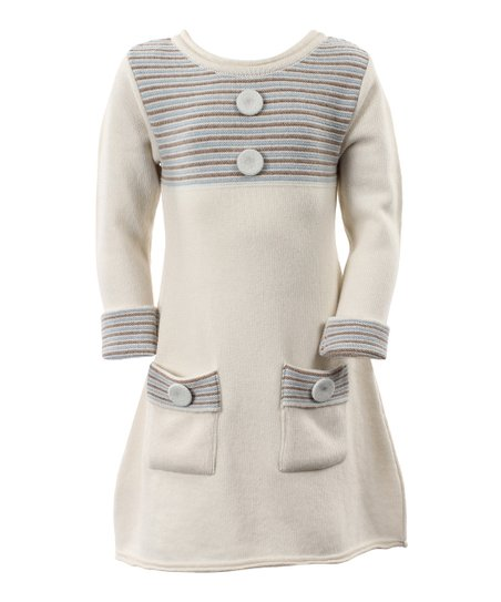 White Stripe Wool-Blend Alfa Dress - Toddler & Girls