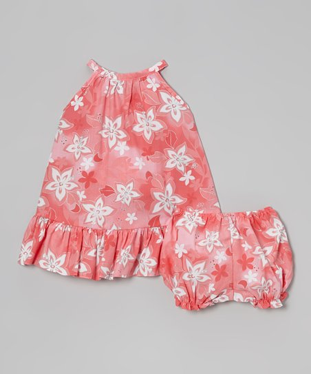 Coral Floral Swing Dress & Bloomers - Infant & Toddler