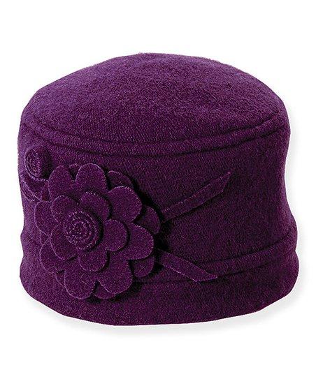 Purple Flower Wool Cloche