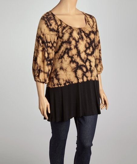 Mocha & Black Tie-Dye Dolman Tunic - Plus