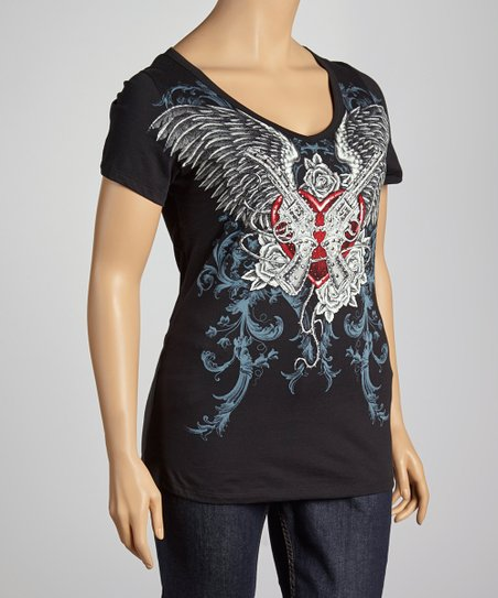 Black Rhinestone Heart V-Neck Top - Plus
