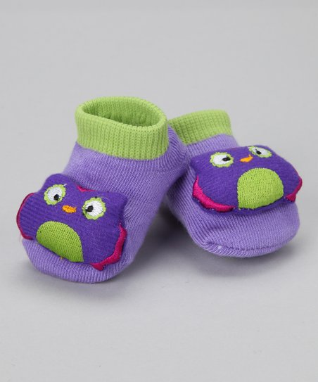 Purple & Lime Green Bird Slipper Socks
