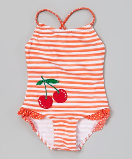 Orange Stripe Cherry One-Piece - Toddler & Girls