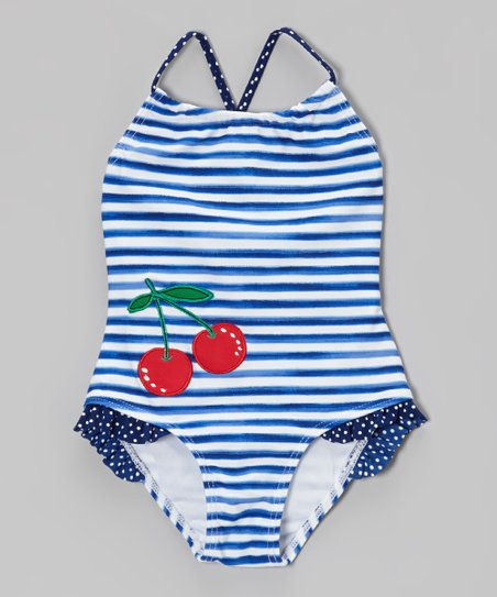 Blue Stripe Cherry One-Piece - Toddler & Girls