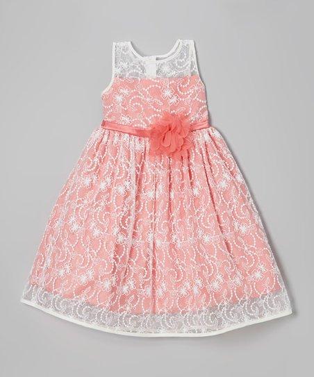 Ivory & Coral Lace Babydoll Dress - Toddler & Girls