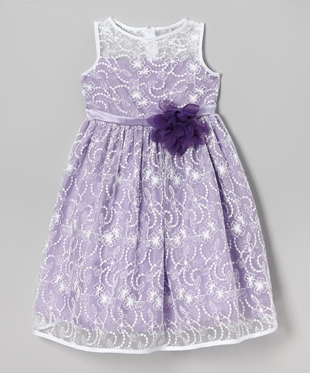 Ivory & Lavender Lace Babydoll Dress – Toddler & Girls
