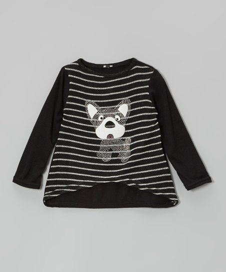 Black & White Stripe Rhinestone Puppy Top - Girls