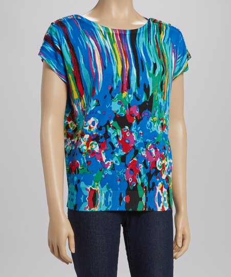 Blue & Pink Sunset Floral Dolman Top