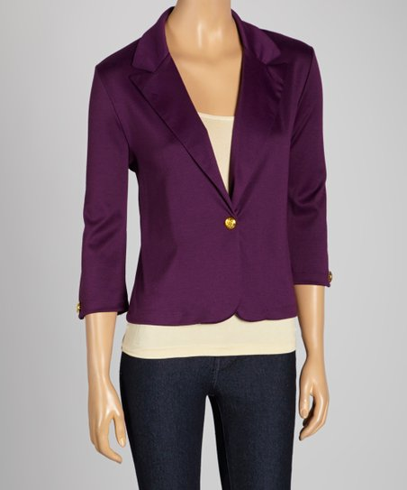 Purple Three-Quarter Sleeve Blazer