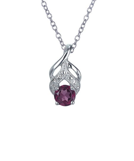 Garnet & Sterling Silver Circle Swirl Pendant Necklace