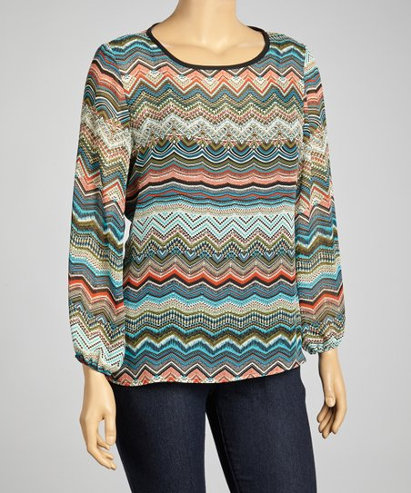 Blue Zigzag Scoop Neck Top - Plus