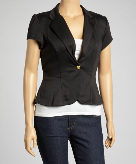 Black Cap-Sleeve Blazer - Plus