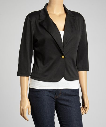 Black Three-Quarter Sleeve Blazer - Plus