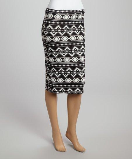 Black & White Tribal Zigzag Pencil Skirt