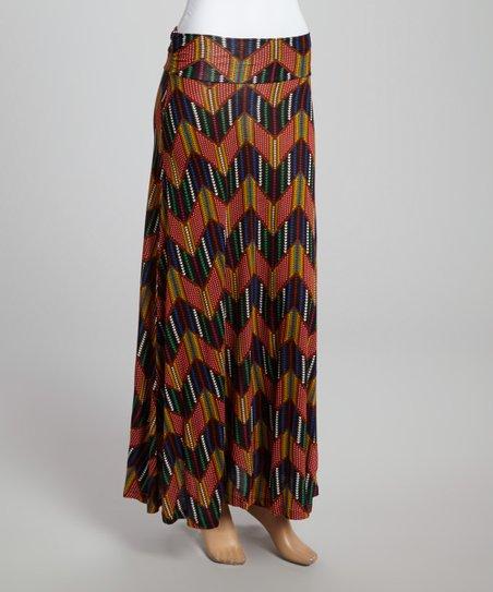 Black & Rust Zigzag Maxi Skirt
