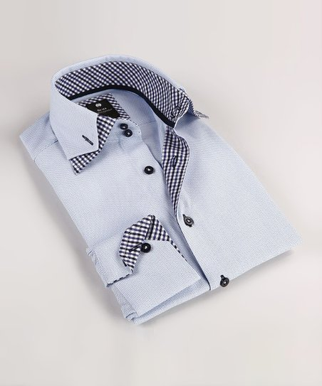 Light Blue Double Collar Button-Up - Boys