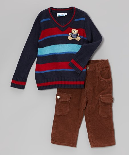 Navy Stripe Teddy Bear Sweater & Corduroy Pants - Infant