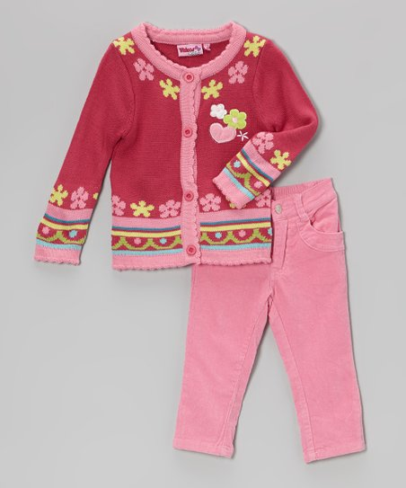 Pink Hearts Cardigan & Corduroy Pants - Infant