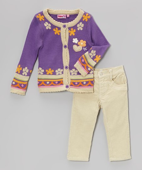 Purple Hearts Cardigan & Corduroy Pants - Infant