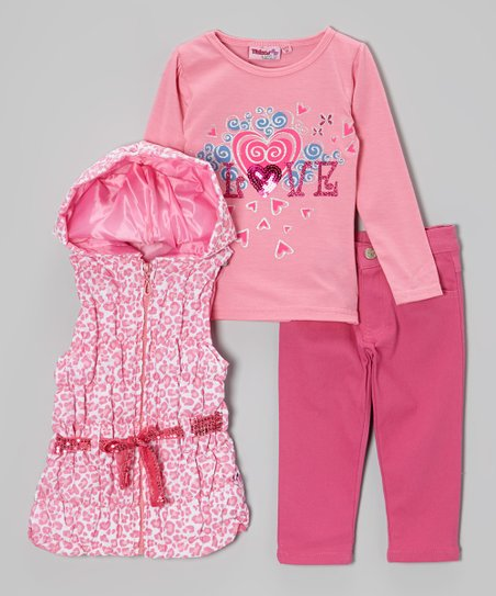Pink Leopard Belted Vest Set - Infant