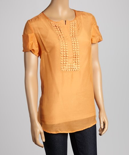 Orange Silk-Blend Henley