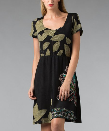 Black Patchwork Scoop Neck Dress