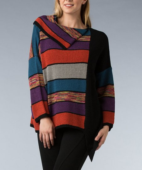Black Fold-Over Stripe Sweater