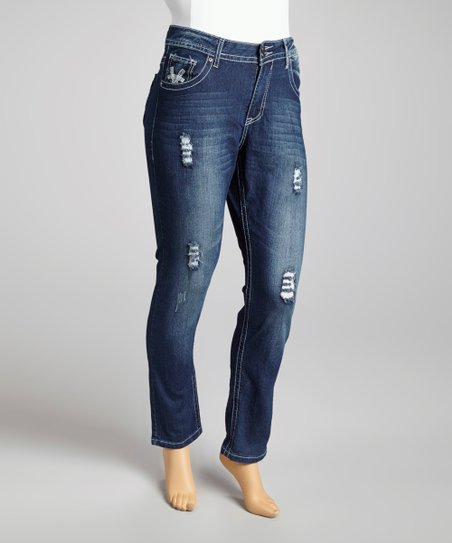 Denim Distressed Embroidered Straight-Leg Jeans - Plus
