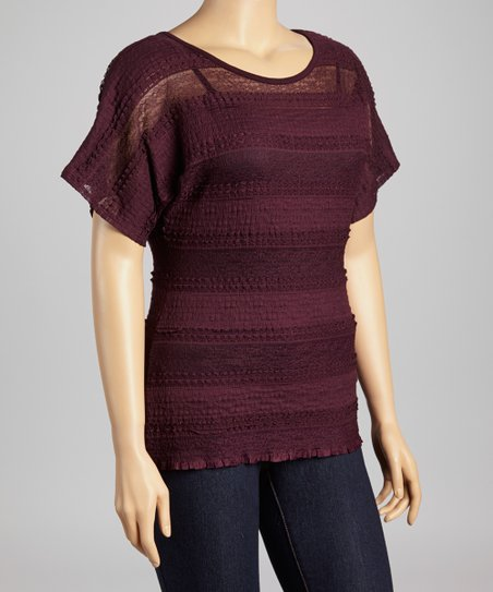 Purple Lace Scoop Neck Top - Plus
