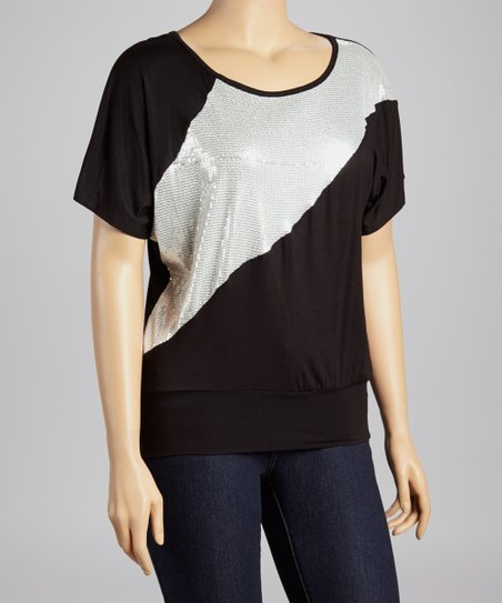 Black & Silver Sequin Top - Plus