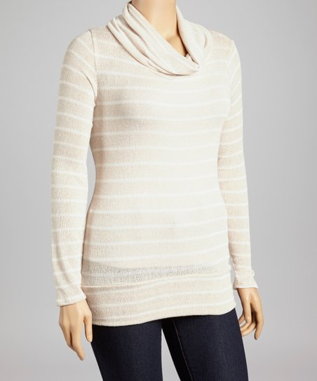 Khaki Stripe Cowl Neck Top - Plus
