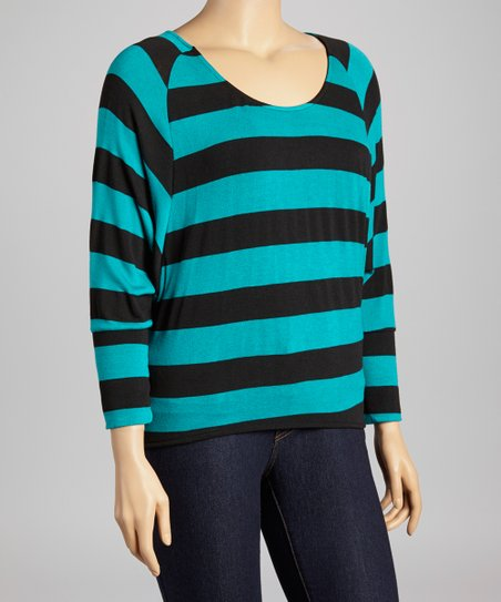 Green & Black Stripe Dolman Top - Plus