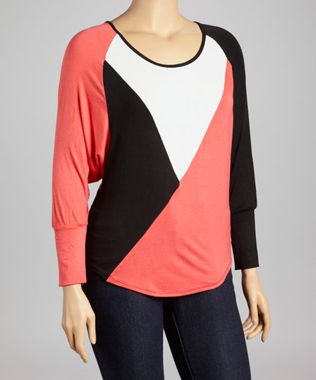 Coral & Black Color Block Top - Plus