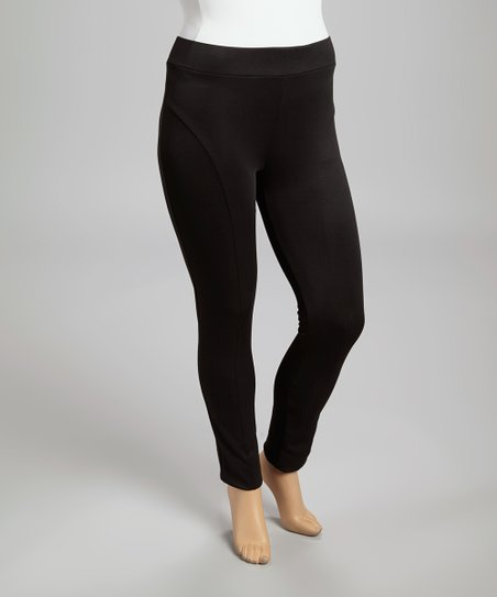 Black Sheen Skinny Pants - Plus