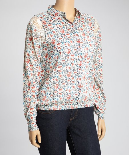 Blue & Red Petite Floral Lace Shoulder Button-Up - Plus