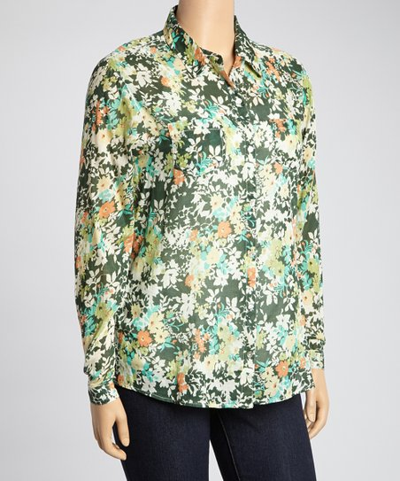 Green & Orange Floral Button-Up - Plus