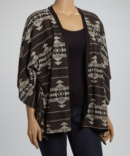 Black & Charcoal Tribal Open Cardigan - Plus