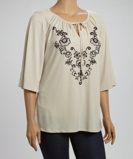 Khaki & Black Floral Peasant Top - Plus